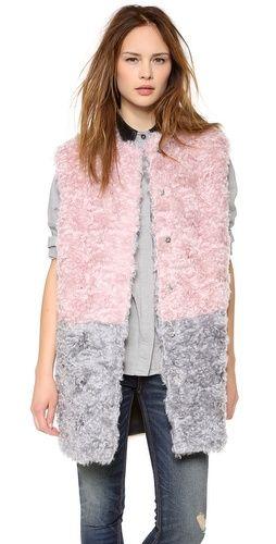 #MSGM #Colorblock #Fur #Vest #women's #designer #fall #fashion #style