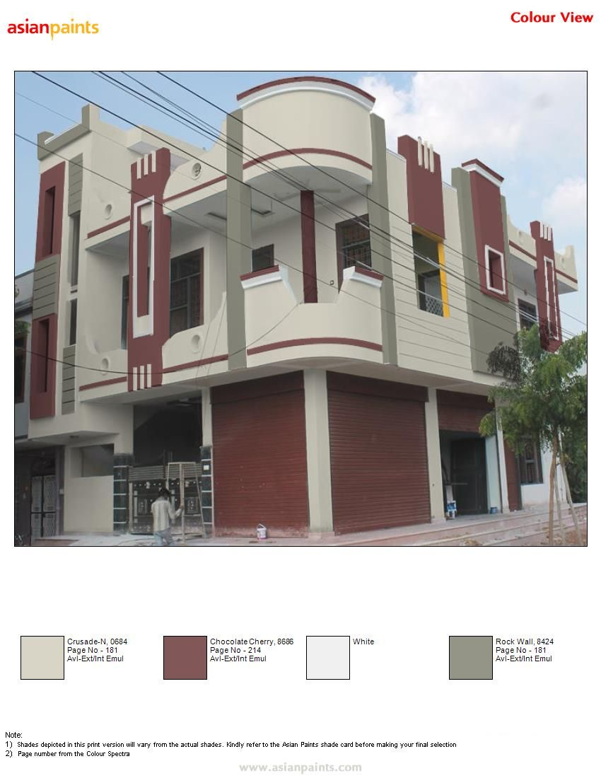 Beautiful Colour Scheme For Corner House With Two Same Family And