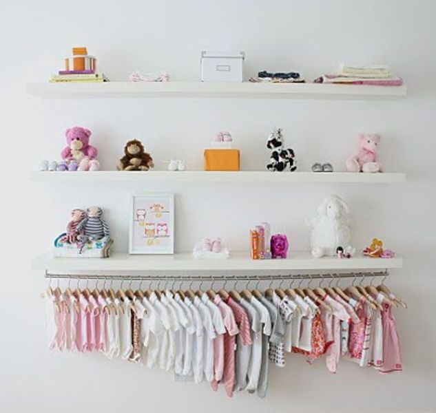 Nice Idea For A Room With No Closet. Hang All Babies Clothes On The Wall  Beneath Some Shelves