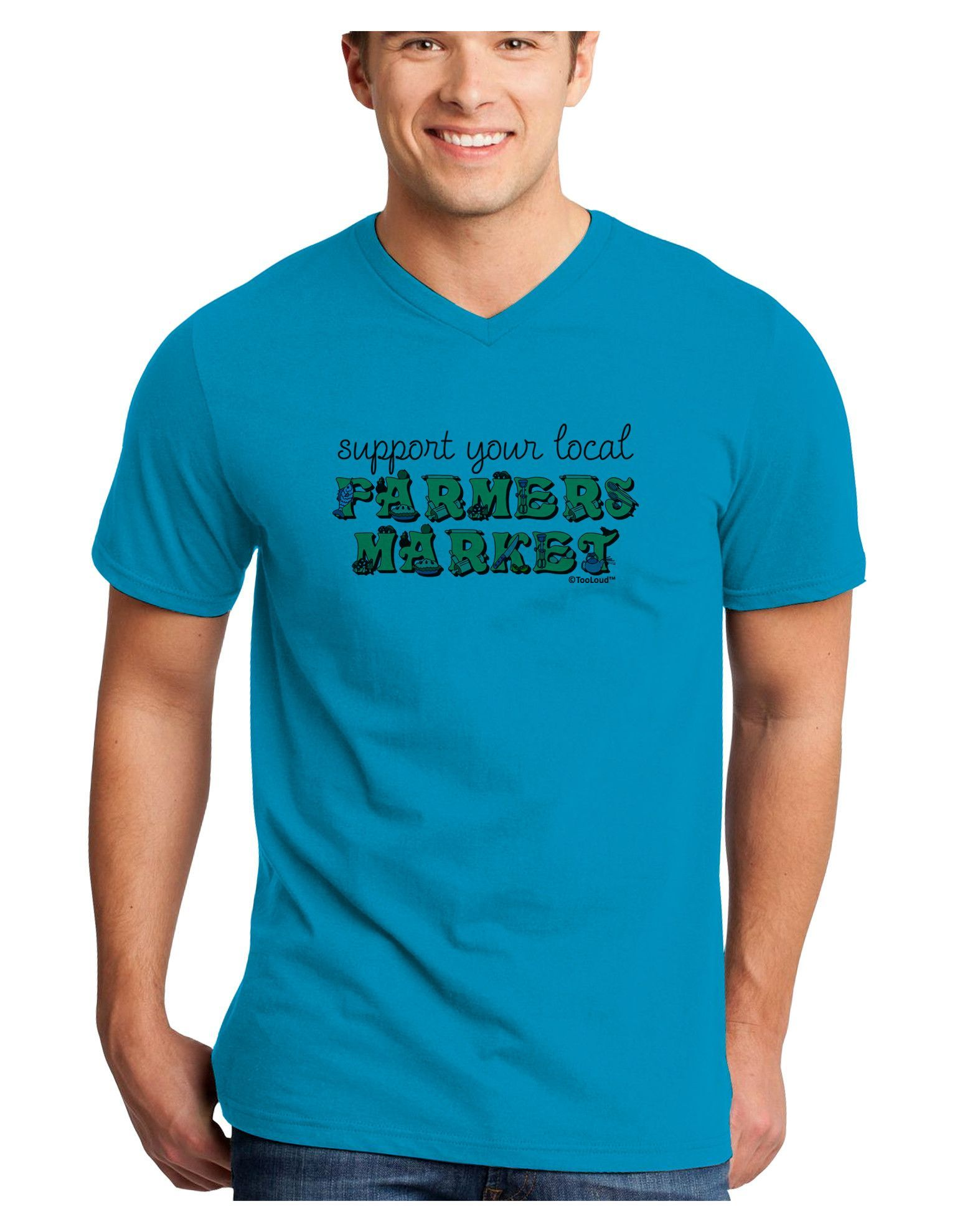 TooLoud Support Your Local Farmers Market - Color Adult V-Neck T-shirt