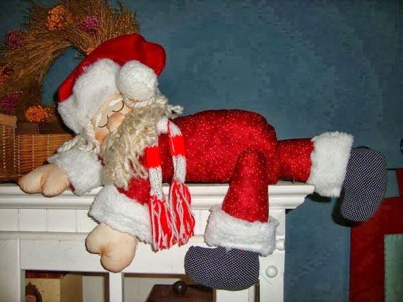 Santa claus dormido moldes munecas rusas pinterest - Decoracion navidena fieltro ...
