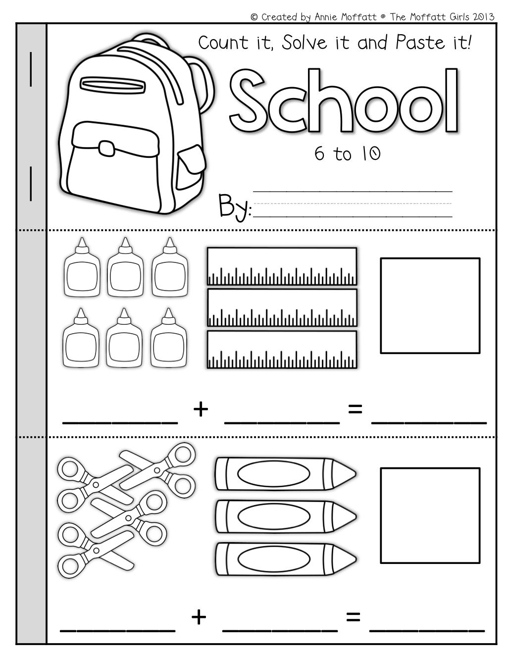 Math Booklets (Count it, Solve it, Paste it) | Simple addition ...
