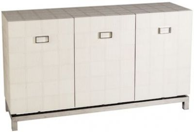 London Interiors Moody Neutral Leather and Steel Cabinet - 3 Door