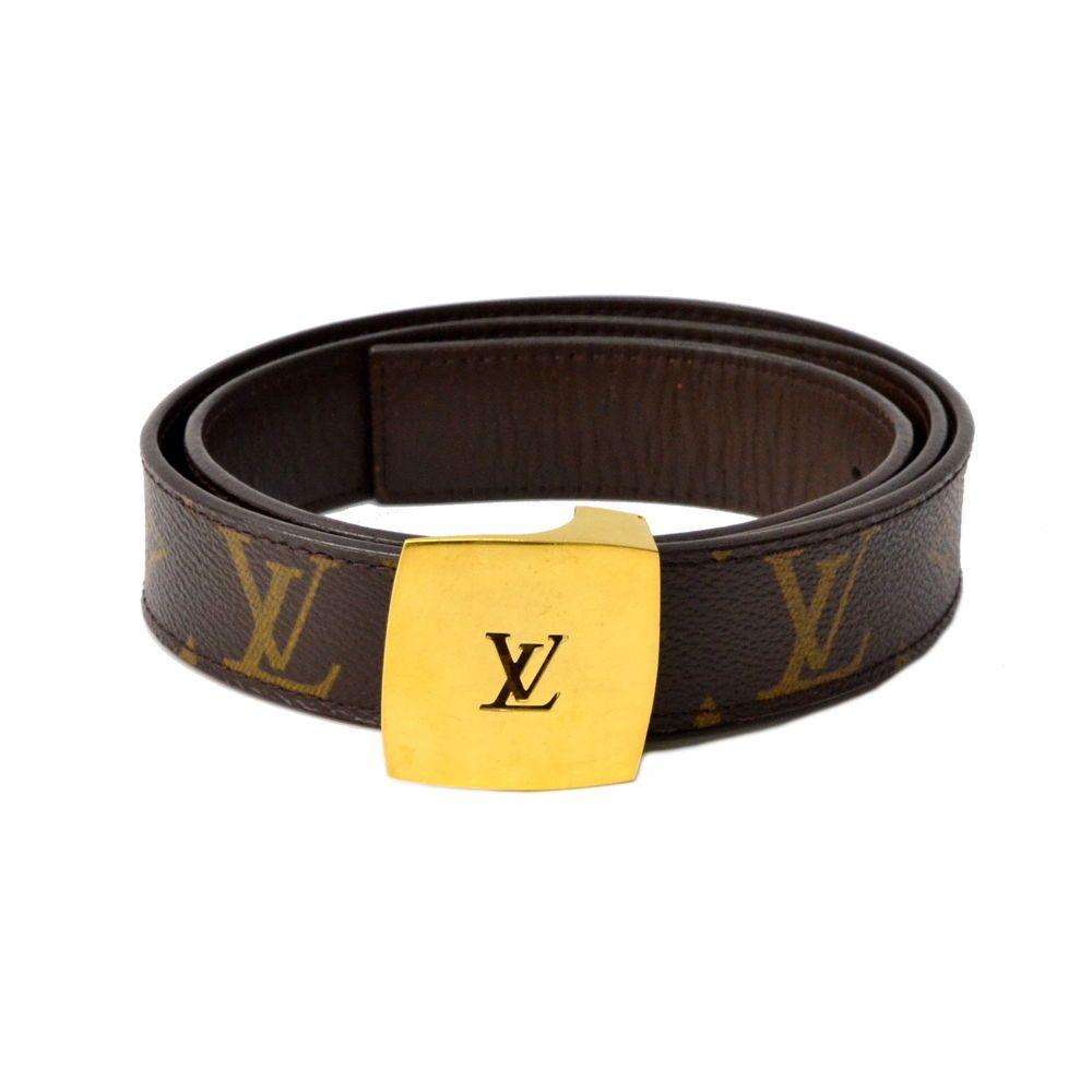 c63c08c0495 Authentic Louis Vuitton Ceinture Monogram Belt Men Brown Gold 85 34 80-90cm  LV  fashion  clothing  shoes  accessories  mensaccessories  belts (ebay  link)