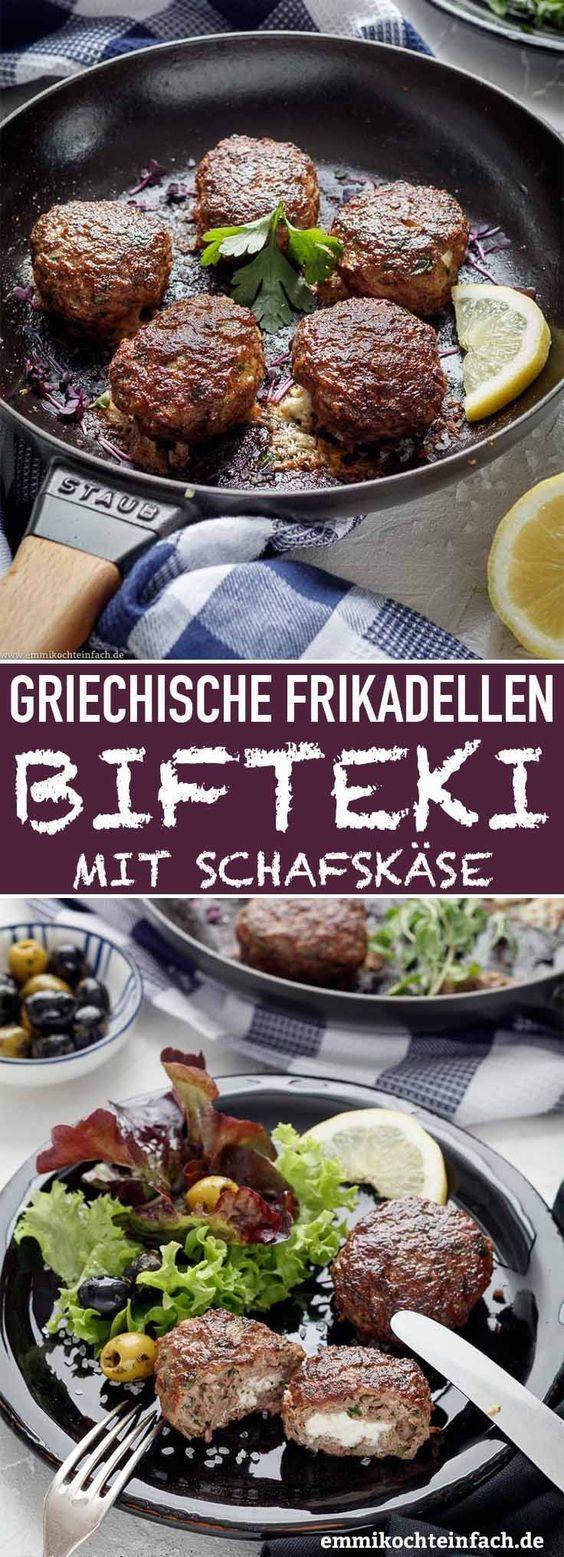 Bifteki - Griechische Frikadellen gefüllt mit Schafskäse - emmikochteinfach