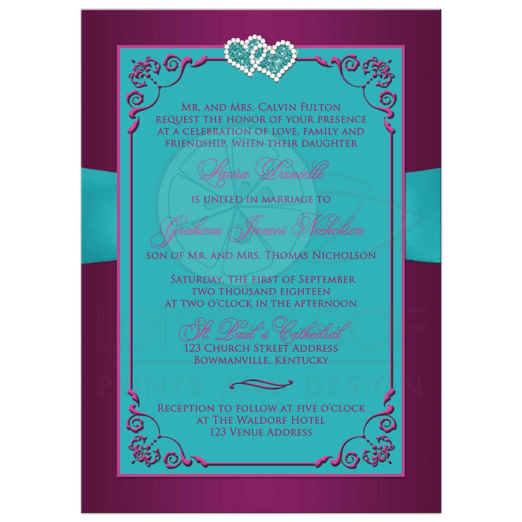 plum purple teal blue and magenta pink floral wedding invites with ribbon bow - Purple And Turquoise Wedding Invitations