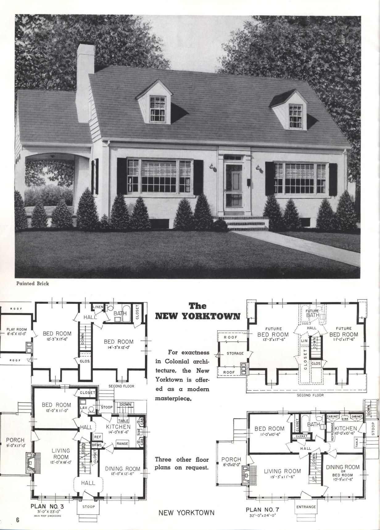 Better Homes At Lower Cost A 50 By Standard Homes Co Publication Date 1950 The New Yorktown Sims House Plans Vintage House Plans House Floor Plans