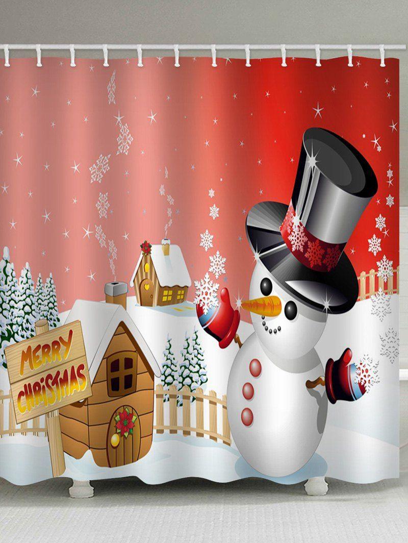 Merry Christmas Snowman Pattern Waterproof Shower Curtain