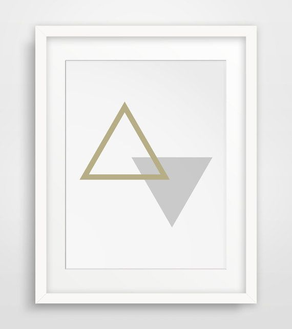 Gold and Grey Minimalist Triangle Wall Art, Gold Geometric