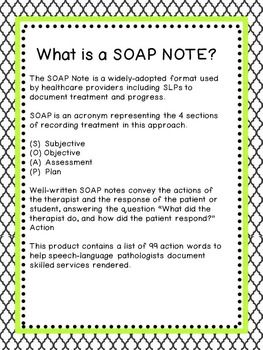 Action Words For Speech Therapy Soap Notes  College Papers