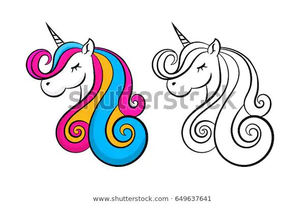Color Lovely Unicorn Outline Contour Design Stock Vector Royalty Free 649637641 Unicorn Outline Unicorn Tattoos Baby Unicorn
