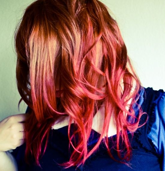 Image Result For Ginger Hair With Pink Dip Dye Red Ombre Hair