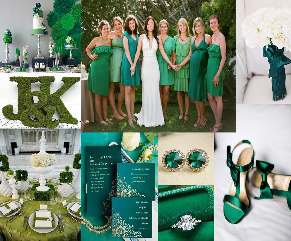Emerald Green Bridesmaids Dresses Initials Shoes Invitations Accessories and Decorations - Wedding Color Trend 2013