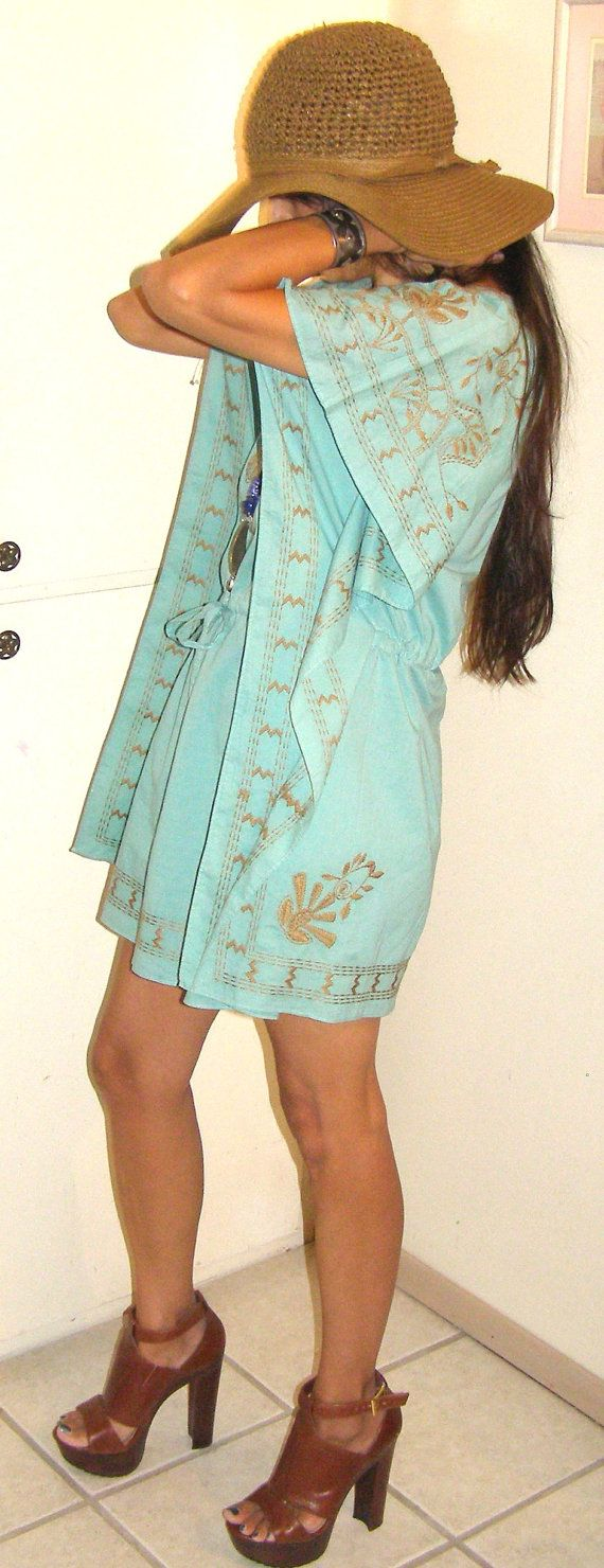 vintage Aqua blue with cocoa brown by THEHIPPIEGYPSYVTG on Etsy, $45.00