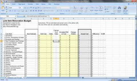 Free Renovation Budget Spreadsheet Download Renovation