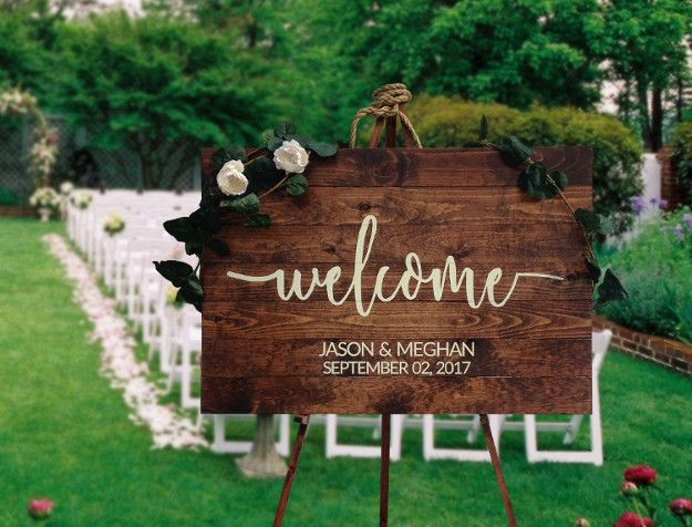 Rustic wood wedding welcome sign your pinterest likes rustic wood wedding welcome sign junglespirit Image collections