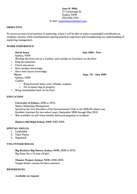 Professional Resume Template Word Examples Joan B Mills 27 Castlereagh St S