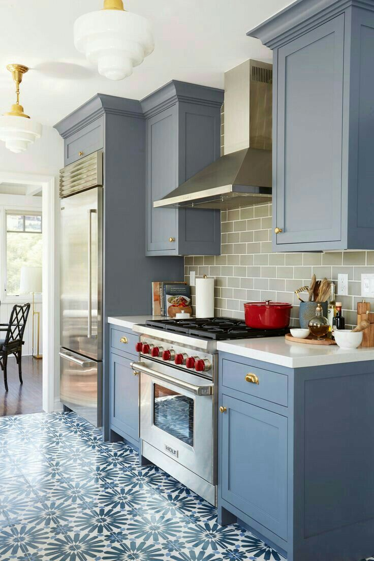 Pin by kirstin k on dining rooms and kitchens pinterest kitchen benjamin moore wolf gray a blue grey painted kitchen cabinets with patterned floor tile and gray subway tile backsplash interior design by ginny macdonald dailygadgetfo Gallery