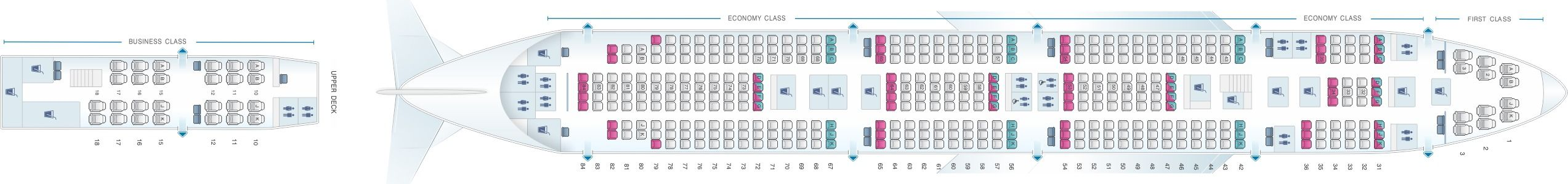 Seat Map And Seating Chart Boeing 747 400 Air India Air India Boeing 747 400 Boeing 747