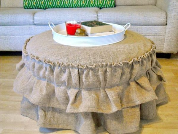 Capa Para Puff Redondo Passo A Passo Diy Ottoman Burlap Ottoman