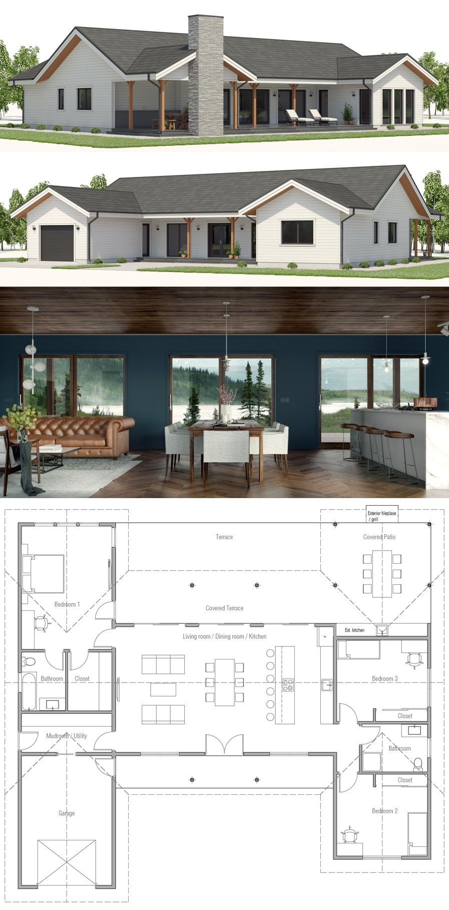 House Plan With Large Covered Terrace And Exterior Fireplace New House Plans Modern House Plans Small House Plans