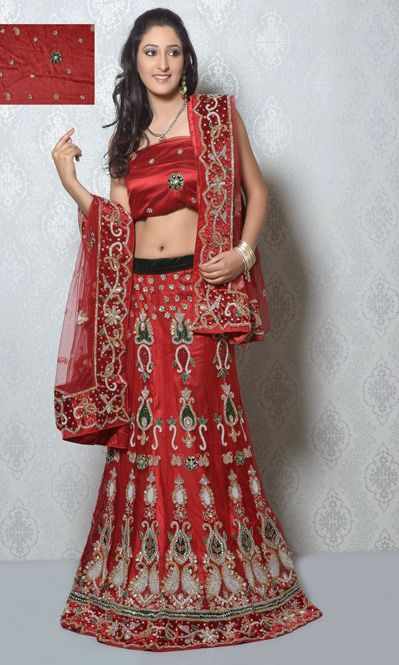 USD 347.68 Maroon Net Bridal Lehenga Choli  32695