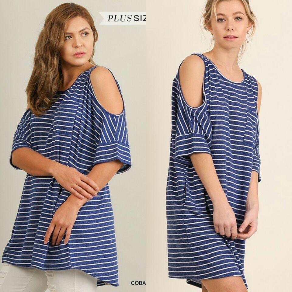 a1d0f3eb0f6 Umgee Tunic striped Dress Side Pockets Short Sleeve cold shoulder T Shirt  S- 2X  umgee  ShirtDress  casual