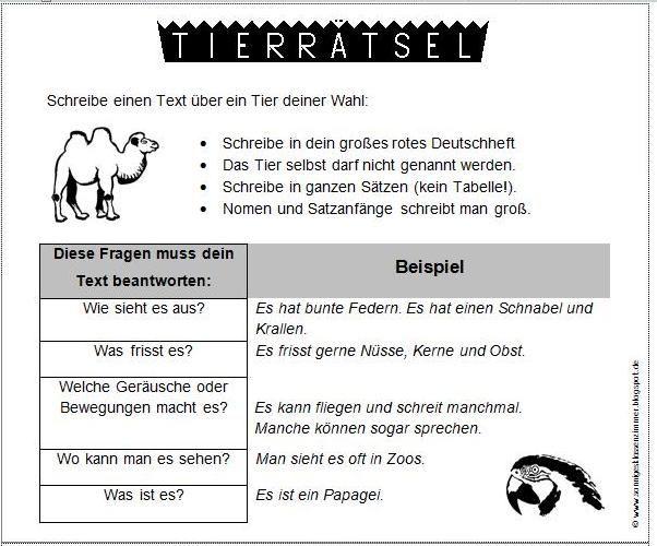 Tierrätsel Schreibanlass Grundschule Deutsch Pinterest Deutsch