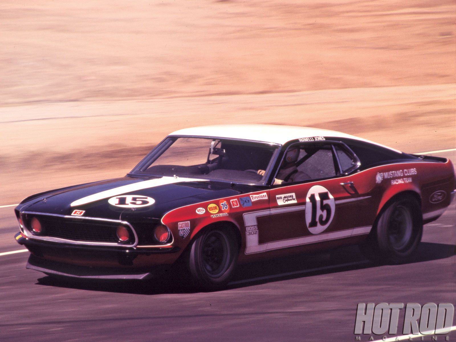 Boss Mustang 1969 with Parnelli on board at Riverside ...