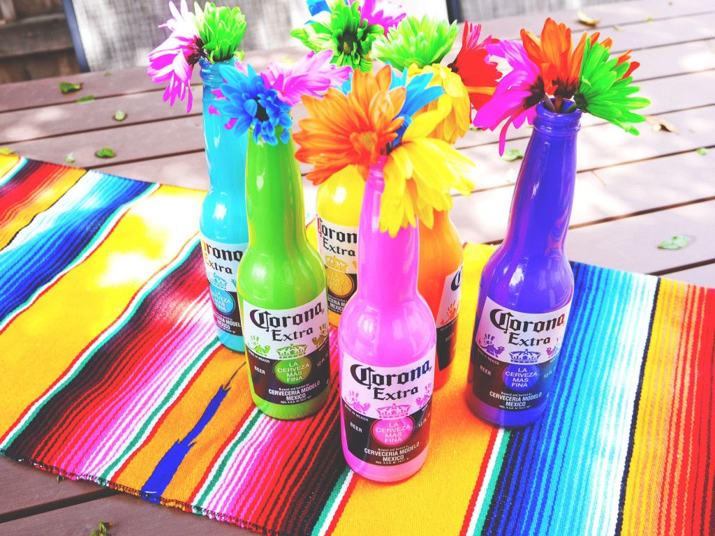 An Easy Step By Step Tutorial For Diy Painted Corona Bottles Corona Beer Party Beer Party Decorations Mexican Party Theme