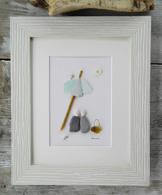 Pebble art couple beach, beach umbrella couple, pebble picture, couple portrait, love gift, anniversary wedding gift, sea glass pictures #beachpicturescouples