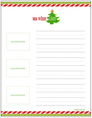 Free Printable Christmas Wish Lists for Kids Living Locurto ~ A - christmas wish list paper