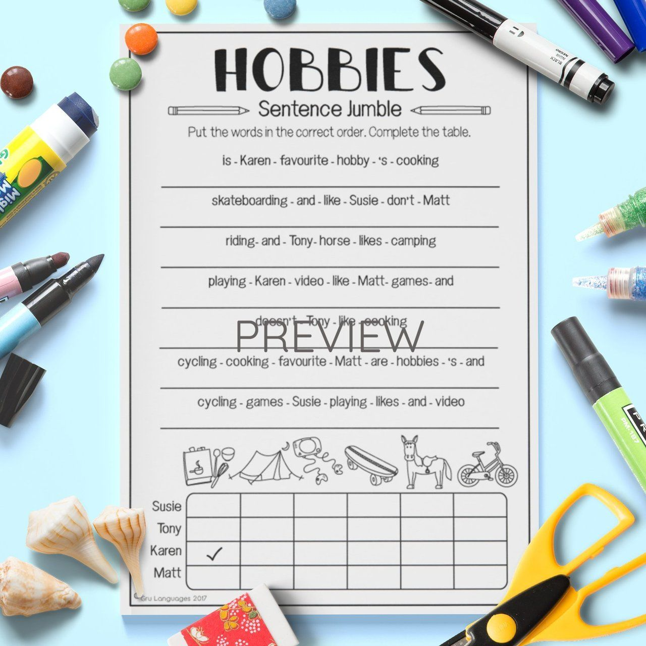 Hobbies Sentence Jumble