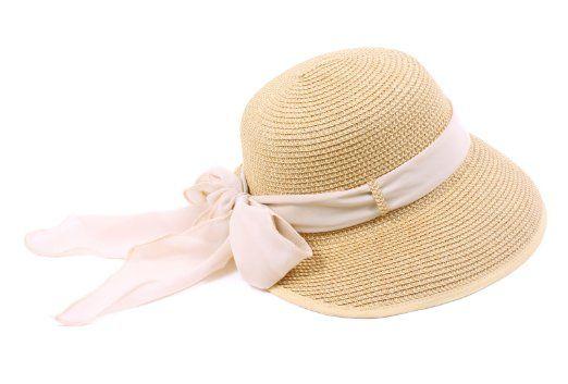 c5547a92785e7 Amazon.com  New Ladies Straw Hat Summer Sun Beach Hat Chiffon Ribbon -  Natural  Clothing