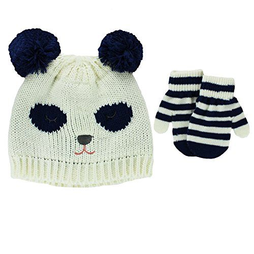 d73e5c900 Carters Toddler Girls Knit Winter Ski Beanie Hat and Mittens 2T4T Bear  Ivory -- You can find more details by visiting the image link.