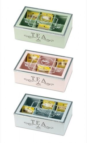 SHOPPINGTRENDY - SCATOLA PORTA BUSTINE DI TE',TEA,THE CON 6 SCOMPARTI IN MDF ASSORTIMENTO 3 COLORI 25X15XH.8CM.