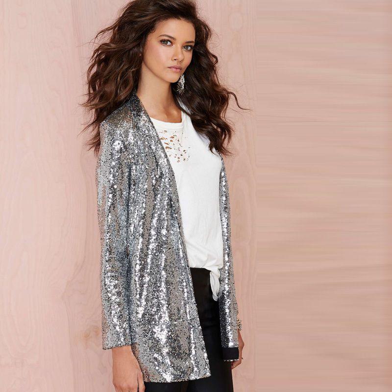 Silver Sequined Cardigan Jacket - Uniqistic.com | Coats & Jackets ...