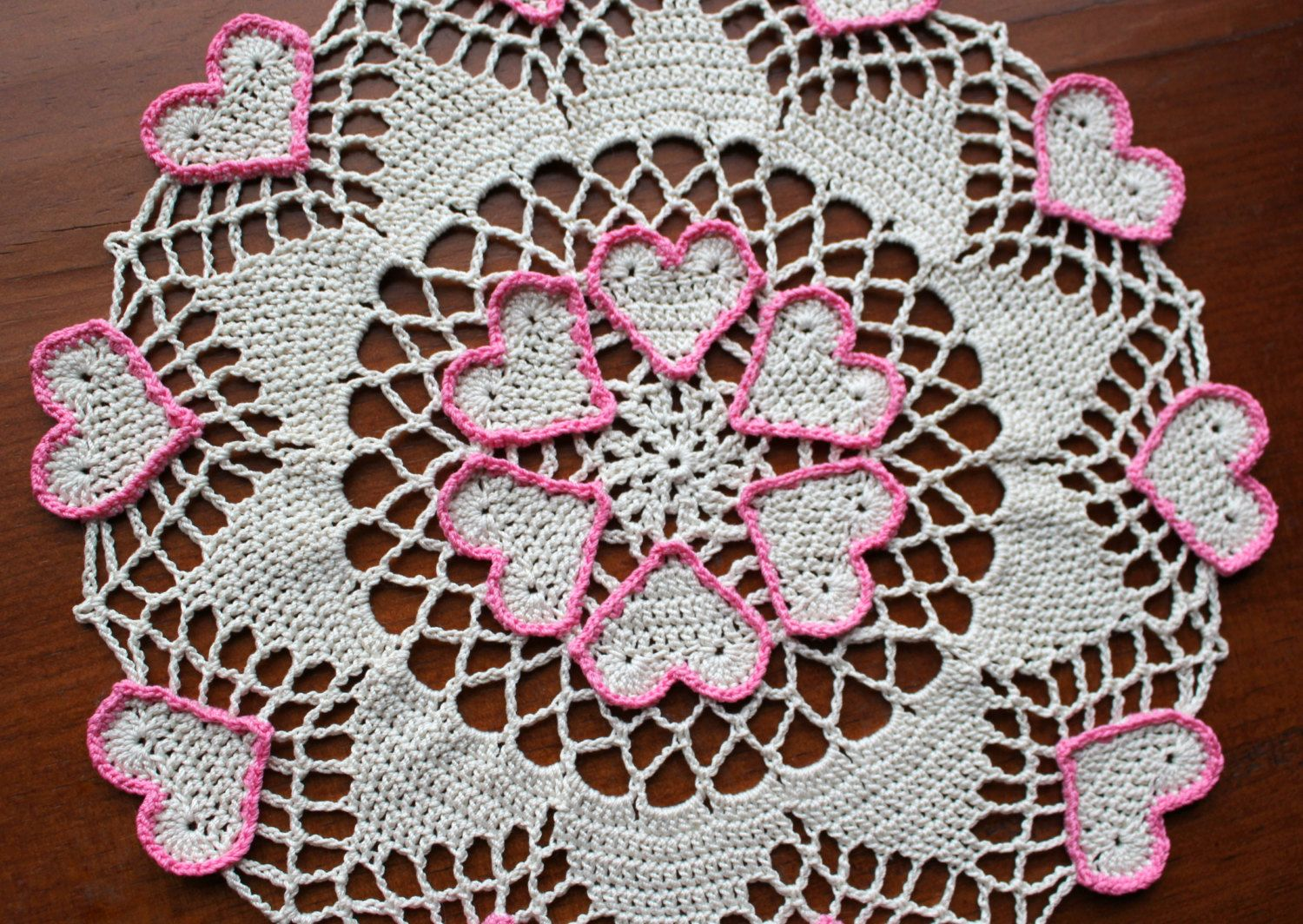 Crochet doily, ecru with hearts outlined in pink, Valentine\'s Day ...
