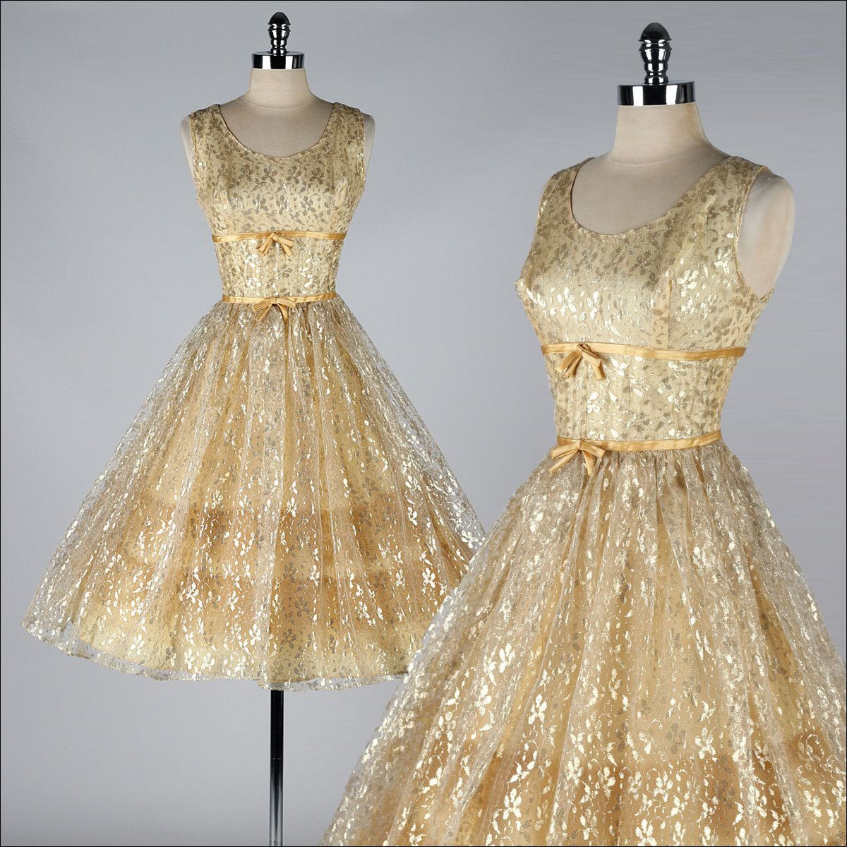 Vintage s dress metallic gold lace tulle cocktail dress