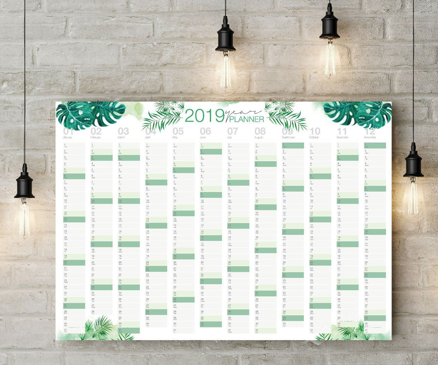 Green Leaves Printable Planner 2020 Wall Planner 2020 Wall