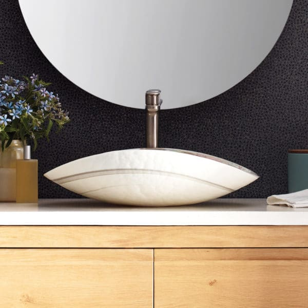 Sorrento Glass Vessel Bathroom Sink Native Trails In 2020 Glass Vessel Glass Vessel Sinks Round Mirror Bathroom