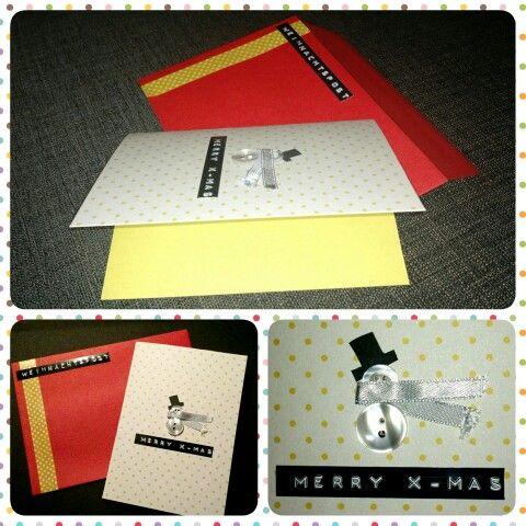 Weihnachtskarte Schneemann & Punkte