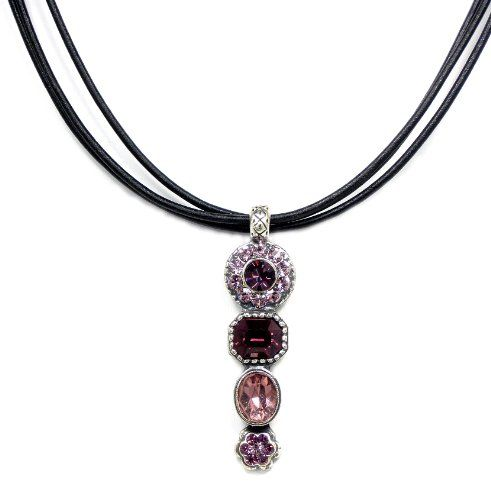 Van Galz Handcrafted Antique Silver Plated Vintage Style Amethyst & Rose Swarovski Crystal and Black Leather Cord Pendant Necklace Van Galz,http://www.amazon.com/dp/B00EDTW1QU/ref=cm_sw_r_pi_dp_VWlpsb0Q3H1DQVNE