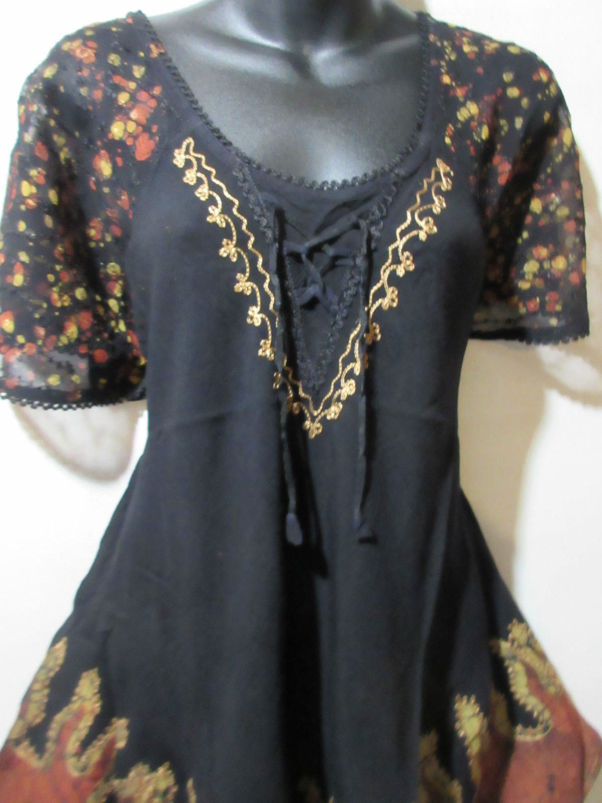 Rust lace bodysuit  Top Fits L XL X Plus Tunic Black Rust Brown Lace Sleeves Bell
