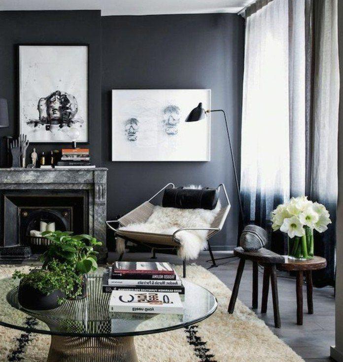 Nice Déco Salon   Magnifique Couleur Peinture Salon Gris Anthracite Et  éléments Déco En Blanc,