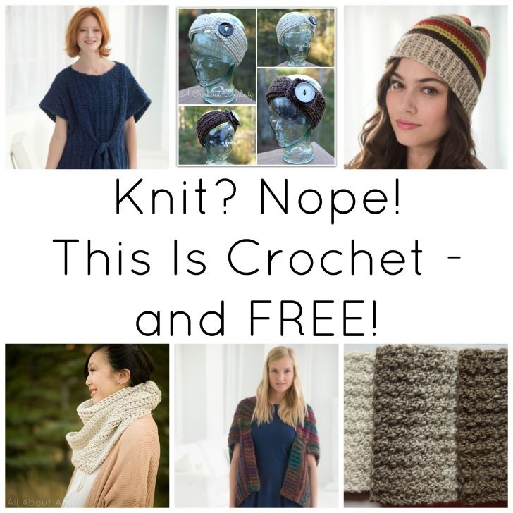 Knit? Nope! This Is Crochet - and FREE | Gorros, Puntadas y Tejido