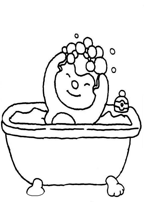Little Boy Use Shampoo In Bath Coloring Pages Bulk Color Coloring Pages Coloring Pages For Kids Kindergarten Colors