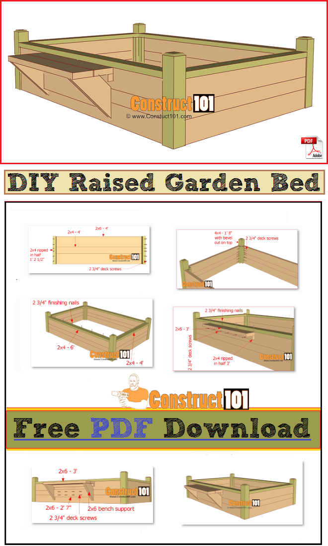 Raised Garden Bed With Bench Pdf Download Raised Garden Beds