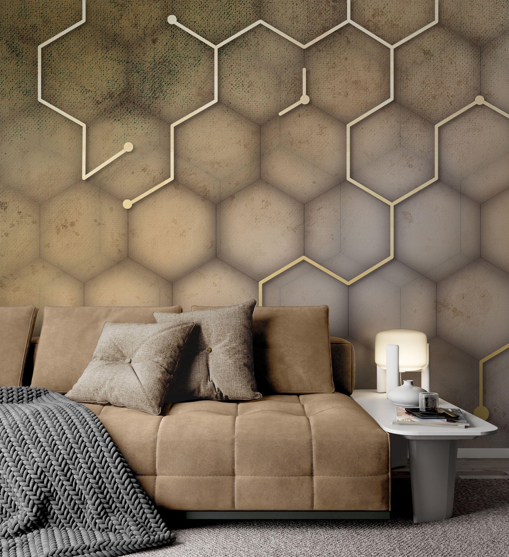 Black Gold Hexagon Geometric Wallpaper Living Room Bedroom