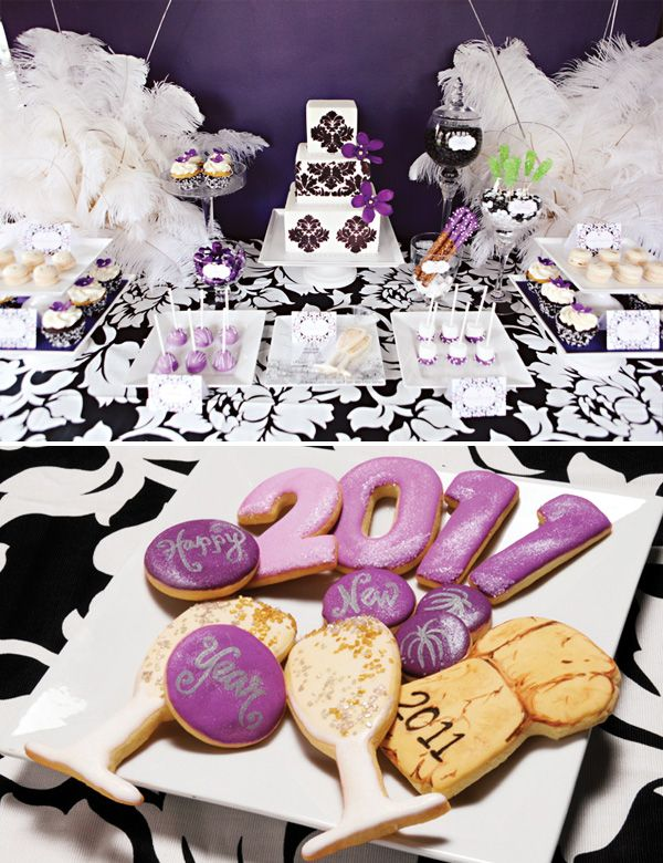 Elegant Damask Inspired Nye Dessert Table By Hostess With The Mostess